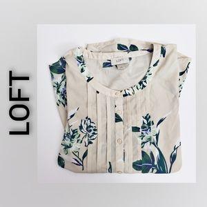 Loft Botanical Print Blouse Size XSMALL Taupe